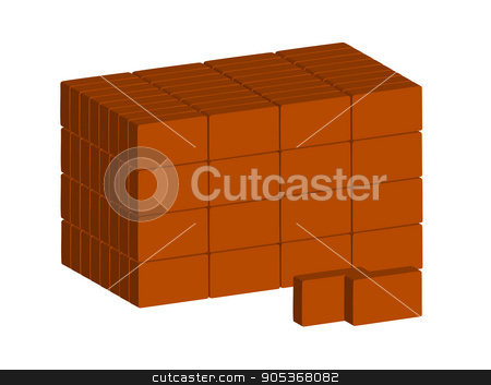 Stack of ordinary red bricks on white background.  Vector.  Horizontal. stock vector clipart, Stack of ordinary red bricks on white background.  Vector.  Horizontal. by Yulia