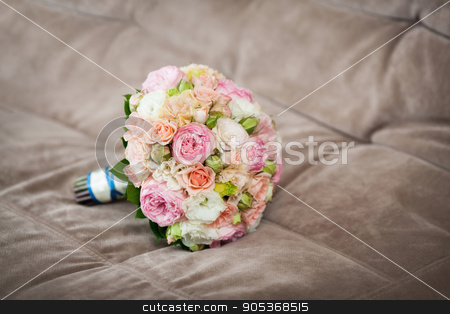 Close up of beautiful wedding bouquet stock photo, Close up of beautiful pink wedding bouquet by HDesert