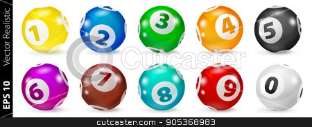 Set of Lottery Colored Number Balls 0-9 stock vector clipart, Vector Colorful Bingo. Lottery Number Balls. Colored balls isolated. Bingo ball. Bingo balls with numbers. Set of colored balls. Realistic vector. Lotto concept by Sid10