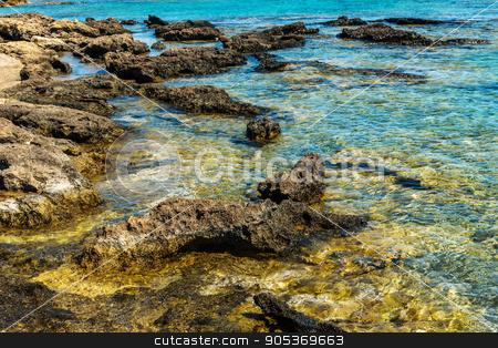 Crete, Greece: beach in Elafonisi or Elafonissi lagoon stock photo, Crete, Greece: famous beach in Elafonisi or Elafonissi lagoon by krivinis