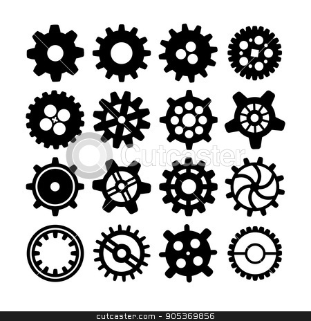 Black different silhouettes of cogwheels on white stock vector clipart, Set of black different silhouettes of cogwheels isolated on white by Evgeny
