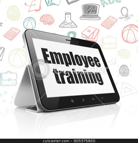 Learning concept: Tablet Computer with Employee Training on display stock photo, Learning concept: Tablet Computer with  black text Employee Training on display,  Hand Drawn Education Icons background, 3D rendering by mkabakov
