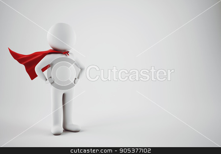 Superhero man. 3D Rendering stock photo, 3D Rendering of small white little man with red hero cape by Federico Caputo