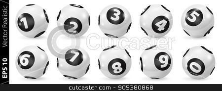 Set of Lottery Black and White Number Balls 0-9 stock vector clipart, Lottery Number Balls. Black and white balls isolated. Bingo balls set. Bingo balls with numbers. Set of black and white balls. Realistic vector. Lotto concept. White Bingo Balls by Sid10