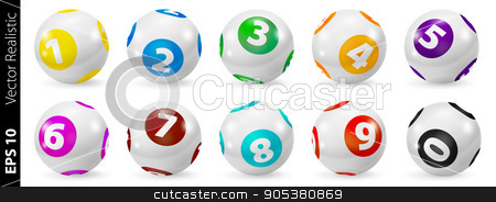 Set of Lottery Colored Number Balls 0-9 stock vector clipart, Vector Colorful Bingo. Lottery Number Balls. Colored balls isolated. Bingo ball. Bingo balls with numbers. Set of colored balls. Realistic vector. Lotto concept. Bingo balls set by Sid10
