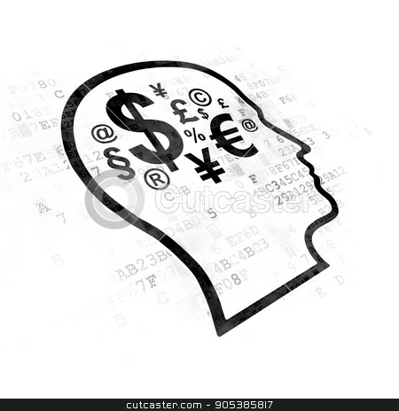 Learning concept: Head With Finance Symbol on Digital background stock photo, Learning concept: Pixelated black Head With Finance Symbol icon on Digital background by mkabakov