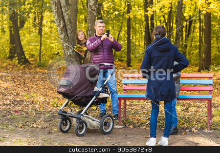family make photo stock photo, family make photo in the autumn nature by Satura86