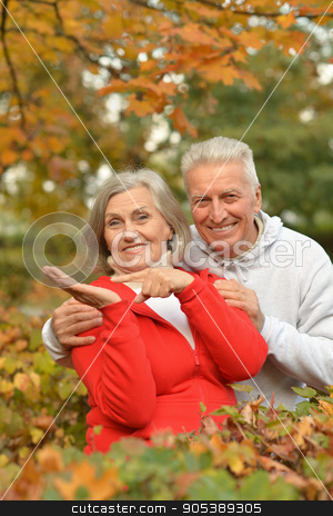 Senior couple in autumn park stock photo, Portrait of a happy senior couple in autumn park by Ruslan Huzau