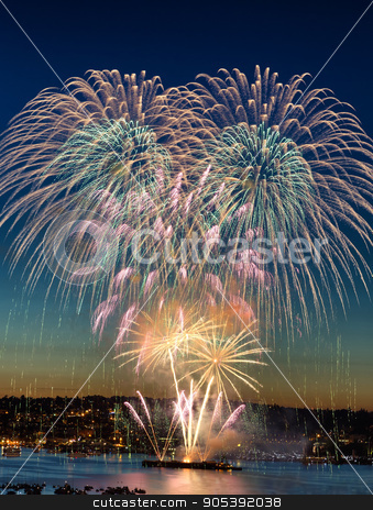 Fireworks for the Holiday stock photo, Holiday Fireworks over the water by tab62