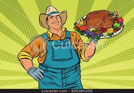 Rural farmer and roast Turkey stock vector clipart, Rural farmer and roast Turkey, pop art retro vector illustration. Family dinner for Christmas or Thanksgiving by studiostoks