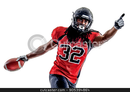 american football player man isolated stock photo, one american football player man isolated on white background by Ishadow