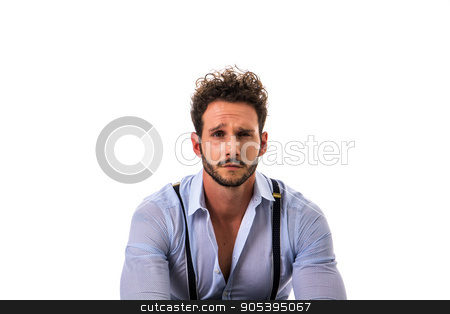 Handsome elegant man in shirt and suspenders stock photo, Handsome elegant young man with elegant shirt, suspenders, isolated on white, smiling and looking at camera by Stefano Cavoretto