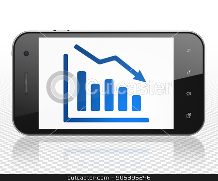 Marketing concept: Smartphone with Decline Graph on display stock photo, Marketing concept: Smartphone with blue Decline Graph icon on display, 3D rendering by mkabakov