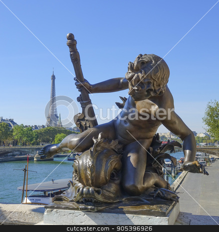 Amazing sculptures on Alexandre III Bridge in Paris - Pont Alexandre III stock photo, Amazing sculptures on Alexandre III Bridge in Paris - Pont Alexandre III by Erik Lattwein