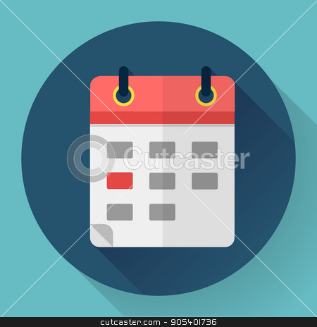 Calendar or mobile app organizer icon, vector illustration. Flat design style stock vector clipart, Calendar icon in flat style. Vector illustration. by MarySan