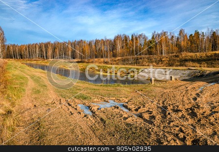 Forest road in autumn stock photo, Road in a forest in late autumn at the end of October by ganchar