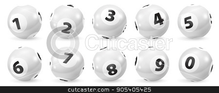 Set of Lottery Black and White Number Balls 0-9 stock photo, Lottery Number Balls. Black and white balls isolated. Bingo balls set. Bingo balls with numbers. Set of black and white balls. Lotto concept. White Bingo Balls by Sid10