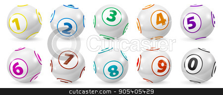 Set of Lottery Colored Number Balls 0-9 stock photo, Lottery Number Balls. Colored balls isolated. Bingo ball. Bingo balls with numbers. Set of colored balls. Lotto concept. Bingo balls set by Sid10