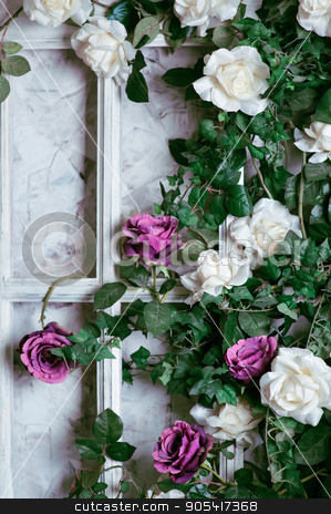 flowers in a frame on the wall for wedding decoration stock photo, flowers in a frame on the wall for wedding decoration by timonko