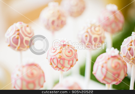 close up of cake pops or lollipops stock photo, food, sweets, junk-food, confectionery and eating concept - close up of cake pops or lollipops by Syda Productions