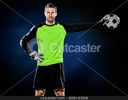 goalkeeper soccer man isolated stock photo, one caucasian goalkeeper soccer man isolated on black background by Ishadow