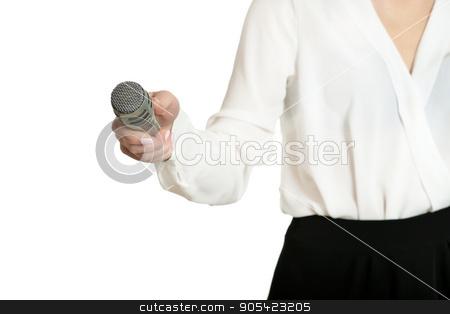 Young woman with microphone stock photo, Happy young woman with microphone on white background by Ruslan Huzau