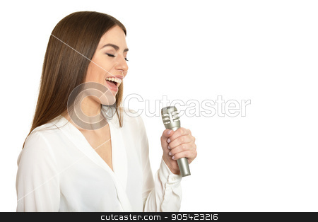 woman with microphone stock photo, Happy young woman with microphone on white background by Ruslan Huzau