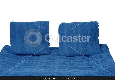 sofa and two pillows in blue isolated on white background stock photo, sofa and two pillows in blue isolated on white background by timonko