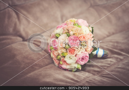 Close up of beautiful wedding bouquet, vintage toned stock photo, Close up of beautiful pink wedding bouquet, vintage toned by HDesert