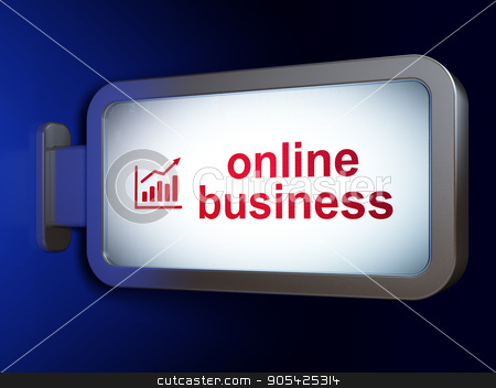Business concept: Online Business and Growth Graph on billboard background stock photo, Business concept: Online Business and Growth Graph on advertising billboard background, 3D rendering by mkabakov