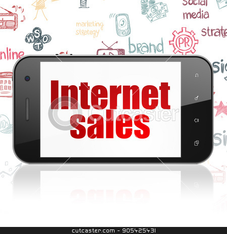Advertising concept: Smartphone with Internet Sales on display stock photo, Advertising concept: Smartphone with  red text Internet Sales on display,  Hand Drawn Marketing Icons background, 3D rendering by mkabakov