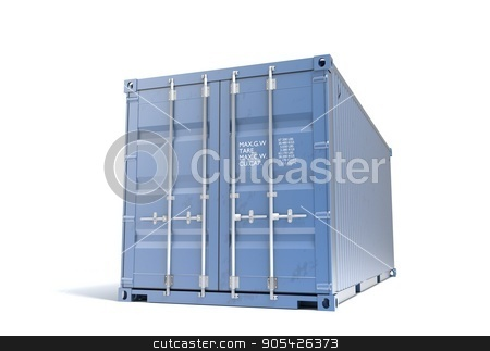 Shipping sea blue container 20 feet isolated 3d illustration stock photo, Shipping Container 3d render isolated on white by Eugene Zabugin