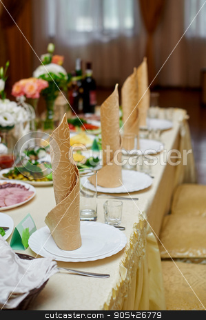 beautiful table setting for the wedding dinner in a restaurant stock photo, beautiful table setting for the wedding dinner in a restaurant by timonko