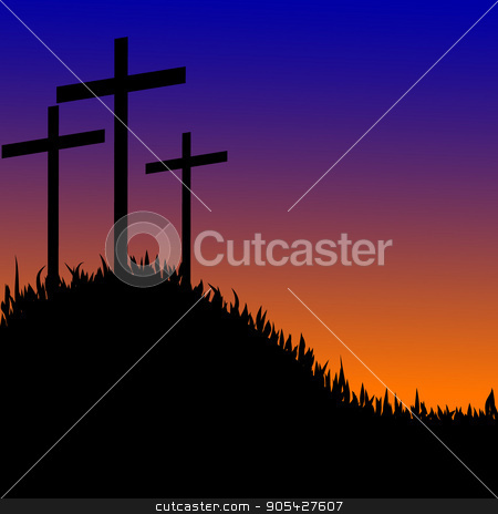 Three Crosses On A Hill Vector Stock Vector