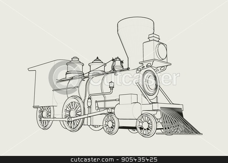 Old American Steam Locomotive outline sketch 3D illustration stock photo, Old American 4-4-0 Steam Locomotive on white 3D render by Eugene Zabugin