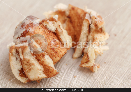 Freshly cinnabon French bun with cinnamon and cream, selective focus stock photo, Freshly cinnabon French bun with cinnamon and cream, selective focus, closeup by HDesert
