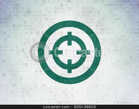 Finance concept: Target on Digital Data Paper background stock photo, Finance concept: Painted green Target icon on Digital Data Paper background by mkabakov