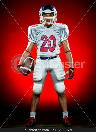american football player man isolated stock photo, one american football player man isolated on colorful black background by Ishadow