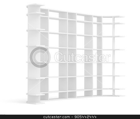 Very long supermarket shelf stock photo, Very long supermarket shelf. Isolated on white. 3D rendering by cherezoff