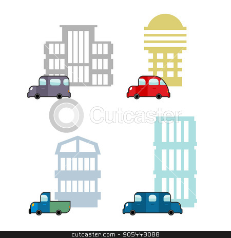 Set of car and House. Transport and business buildings. Collecti stock vector clipart, Set of car and House. Transport and business buildings. Collection of icons of  city theme. Cars and public buildings.  by Popaukropa