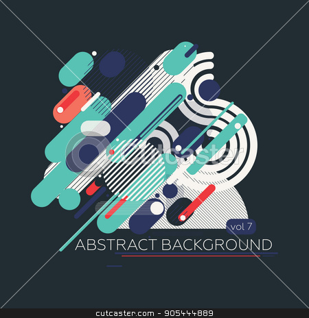 Colorful geometric composition stock vector clipart, Simple geometric composition of chaotic parallel lines and geometric elements. Perfectly suited for backgrounds and graphic web design by Ivan Kamzyst