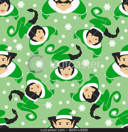 seamless pattern. EPS 10 vector illustration. used for printing, websites, design, ukrasheniayya, interior, fabrics, etc. Christmas theme. Girls Around the elves are on a green background stock vector clipart, seamless pattern. EPS 10 vector illustration. used for printing, websites, design, ukrasheniayya, interior fabrics etc Christmas theme by Kseniia
