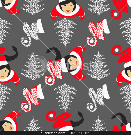 seamless pattern. used for printing, websites, design, ukrasheniayya, interior, fabrics, etc. Christmas theme. Santa Claus kids on gray background among the snowflakes and  trees stock vector clipart, seamless pattern. EPS 10 vector illustration. used for printing, websites, design, ukrasheniayya, interior, fabrics, etc. Christmas theme. Santa Claus kids on gray background among the snowflakes and Christmas trees by Kseniia