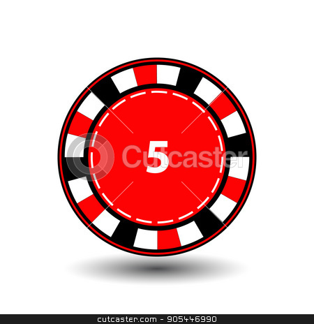 chips red 5 for poker an icon on the white isolated background