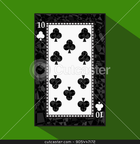 playing card. the icon picture is easy. CLUB TEN 10 about dark region boundary. a vector illustration on green background. application appointment  stock vector clipart, playing card. the icon picture is easy. CLUB TEN 10 about dark region boundary. a vector illustration on a green background. application appointment for website, press, t-shirt, fabric, interior, registration, design by Kseniia
