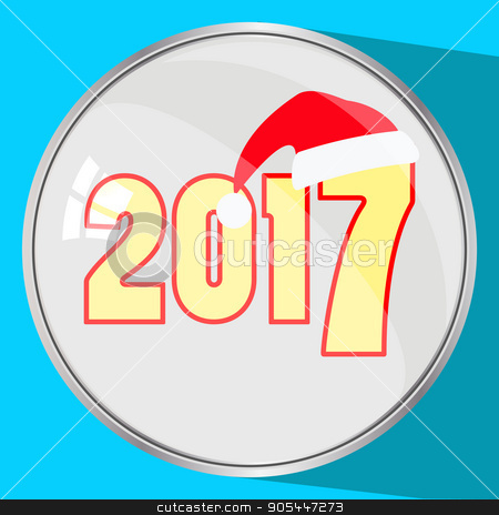 the icon picture the button reflection glass number two thousand seventeenth 2017 yellow on a blue fone.simvol Christmas cap Santa Claus. to use for design, the press, t-shirts. vector illustration stock vector clipart, the icon picture the button reflection glass number two thousand seventeenth 2017 yellow on a blue fone.simvol Christmas a cap Santa Claus. to use for design, the press, t-shirts. vector illustration. by Kseniia
