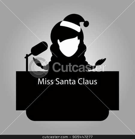 Santa Claus the girl a braid,  tribune of an interview to give. vector illustration eps 10. On light it is easy  separate  background. Black white stock vector clipart, Santa Claus the girl a braid, a tribune of an interview to give. vector illustration eps 10. On light it is easy to separate a background. Black white. To spend for the press, the website, an undershirt by Kseniia
