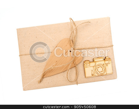 gift box of kraft paper on a white background stock photo, gift box of kraft paper on a white background by timonko