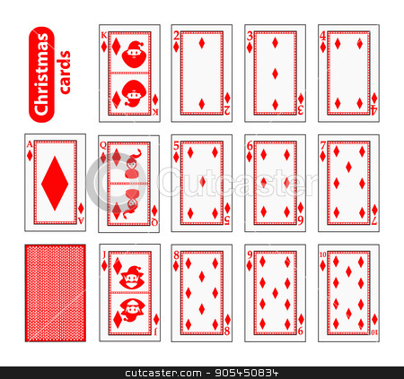 Cards Poker Set Christmas icons. color red diamond. Santa claus, girl and elf - just schematically, uniformly. Illustration vector.  stock vector clipart, Cards Poker Set Christmas icons. color red diamond. Santa claus, girl and elf - just schematically, uniformly. Illustration vector. Use for the site, printing, paper, cloth, decoration, design, etc EPS 10 by Kseniia