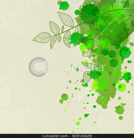 background with green leaves stock vector clipart, background with green leaves and blots for spring promotion or invitation by Heliburcka